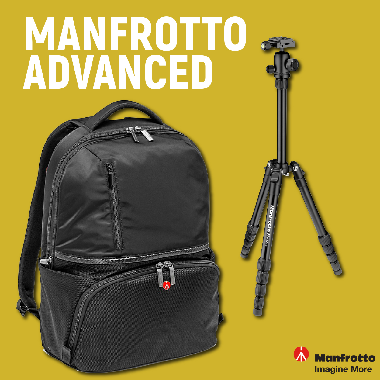 Manfrotto Advanced Active Backpack II and tripod Manfrotto Element Small