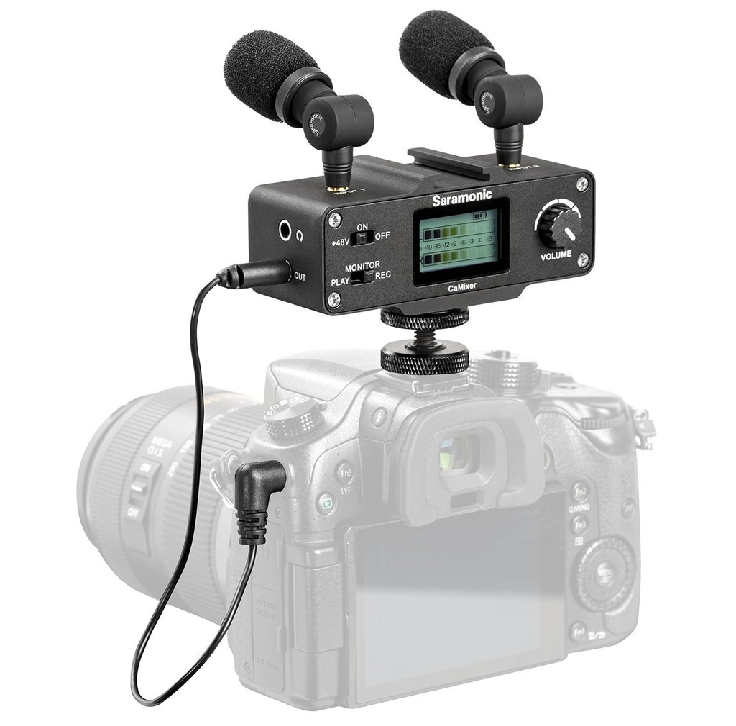 Мини аудио смесител с комплект от 2 микрофона Saramonic CaMixer