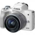 Фотоапарат Canon EOS M50 бял + обектив Canon EF-M 15-45mm + батерия LP-E12