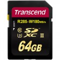 SD карта памет - Transcend 64GB SDXC/SDHC Class3 UHS-II Card (R285, W180 MB/s)