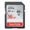 SD карта памет SanDisk ULTRA® SDHC,16GB, CLASS 10 UHS-I, 80 MB/S