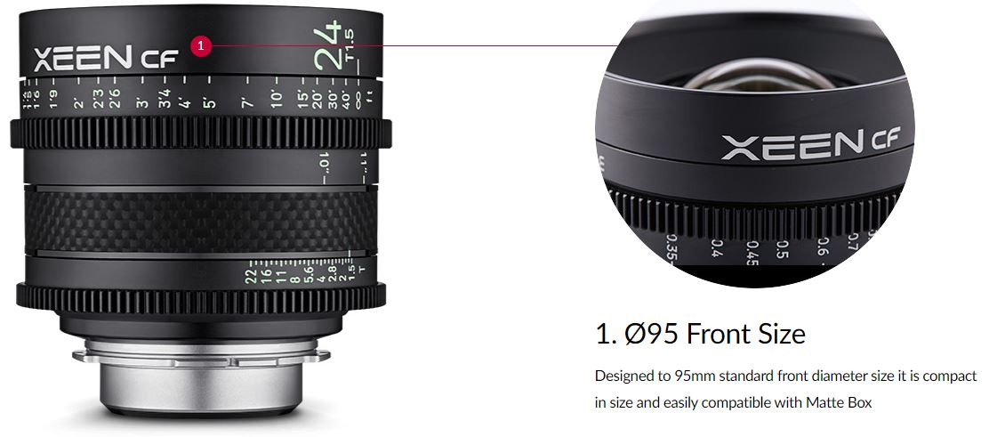 Designed to 95mm standard front diameter size it is compact in size and easily compatible with Matte Box