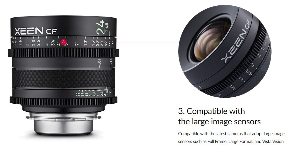 Compatible with the latest cameras that adopt large image sensors such as Full Frame, Large Format, and Vista Vision