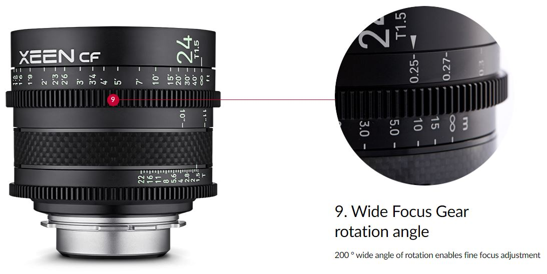 200 ° wide angle of rotation enables fine focus adjustment